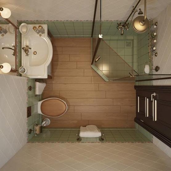 Mẫu 3: Phòng tắm với diện tích nhỏ 3m2