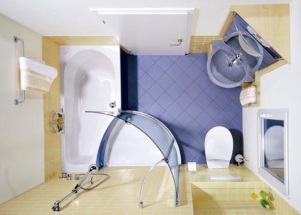 Mẫu 8: 9 mẫu thiết kế phòng tắm nhỏ 3m2