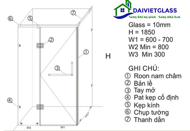 mẫu thiết kế phòng tắm kính 90 độ