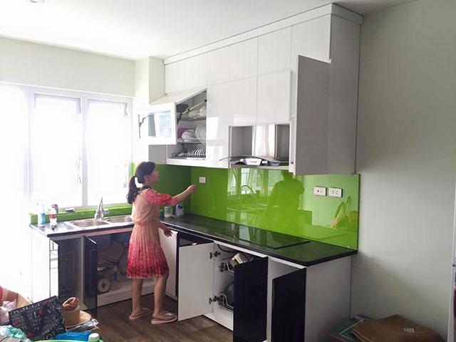Kính Ốp bếp Màu Xanh Non Khu Đô Thị Đại Kim