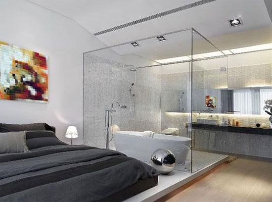 Thiết kế phòng tắm kính trong phòng ngủ