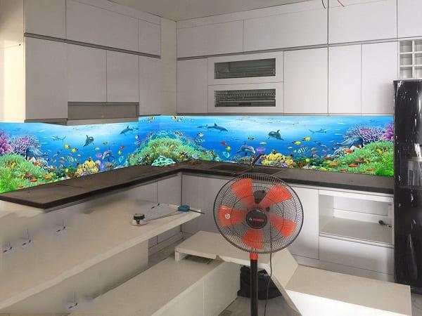 kính màu ốp bếp 3D tại Cầu Giấy
