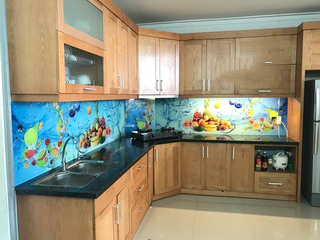 kính ốp bếp 3D tại Đông Anh
